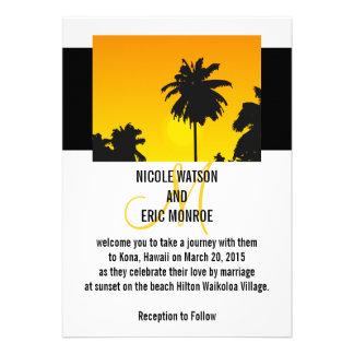 Tropical Wedding Invitations Palm Trees Monogram