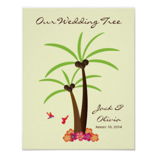 Tropical Wedding Palm Tree Thumbprint Guestbook