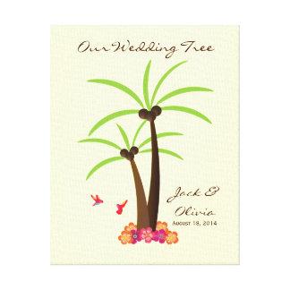 Tropical Wedding Palm Tree Thumbprint Guestbook Canvas Print