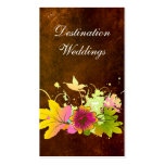 Tropical Wedding Planner Vintage Brown Pink Flower Business Card Templates