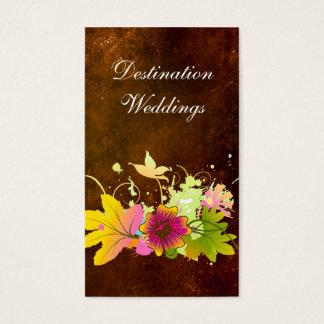 Tropical Wedding Planner Vintage Brown Pink Flower Business Card
