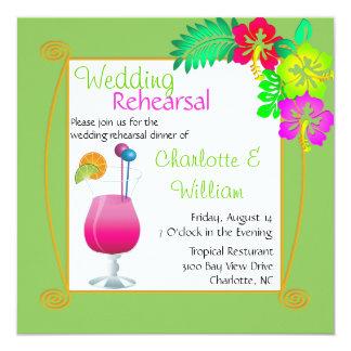 Tropical Wedding Rehearsal Dinner Invitation