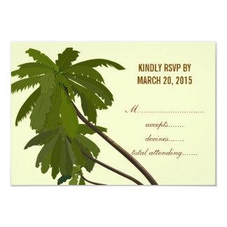 Tropical Wedding RSVP Palm Trees 3.5x5 Paper Invitation Card