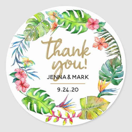 Tropical Wedding  Thanks Party Favor Stickers
