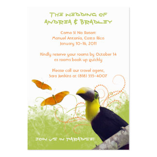 Tropical Wedding Travel Information Card Business Card Templates