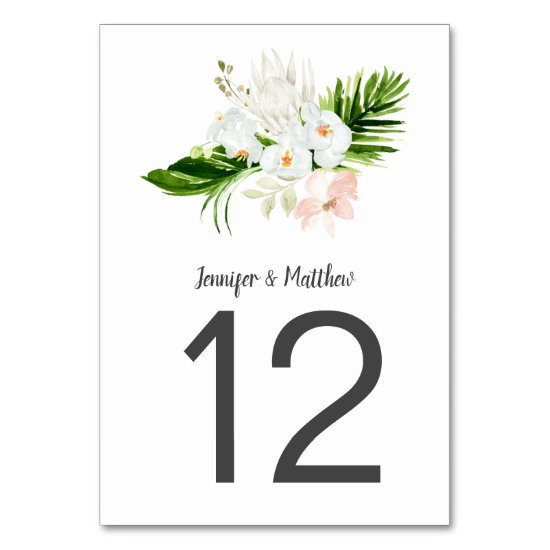 Tropical White and Blush Orchids and Magnolias Table Number