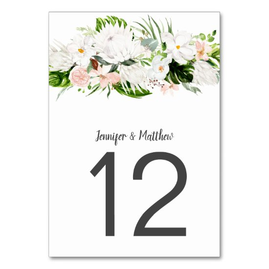 Tropical White and Blush Watercolor Flowers Table Number