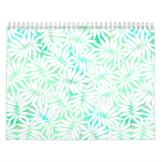 Tropical white and green leaves calendar