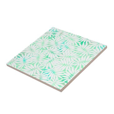 adamfahey Tropical white and green leaves tile