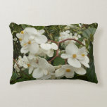 Tropical White Begonia Flowers Accent Pillow