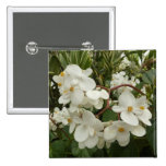 Tropical White Begonia Flowers 2 Inch Square Button