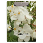 Tropical White Begonia Flowers Clipboard