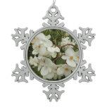 Tropical White Begonia Flowers Pewter Snowflake Ornament