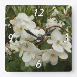 Tropical White Begonia Flowers Square Wall Clock