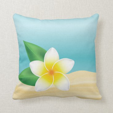 Beach Themed Tropical White Frangipani Flower Beach Theme Throw Pillow