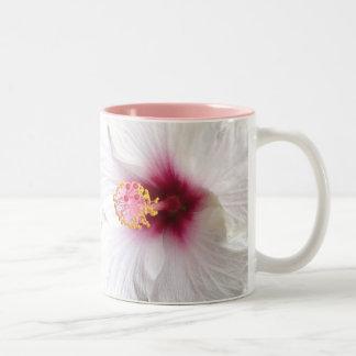 Tropical White Hibiscus Two-Tone Coffee Mug