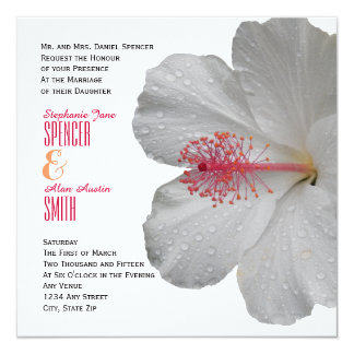 Tropical White Hibiscus Wedding Invitation