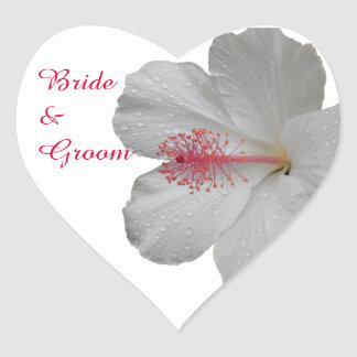 Tropical White Hibiscus Wedding Stickers