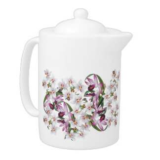 Tropical White Orchid Flower Floral Islands Teapot