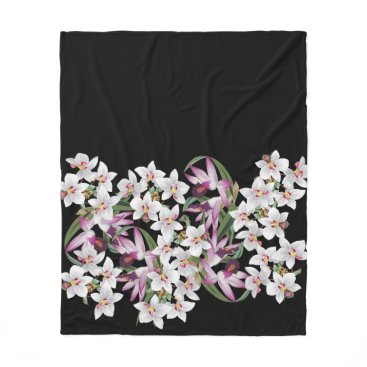 Hawaiian Themed Tropical White Orchid Flowers Fleece Blanket