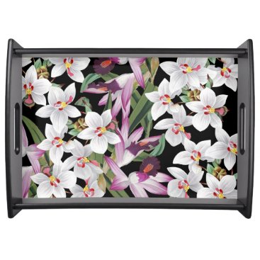 Hawaiian Themed Tropical White Orchid Flowers Serving Tray