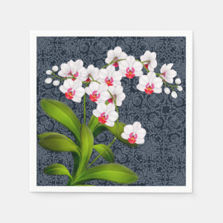 Tropical White Phalaenopsis Orchid Flowers Napkins