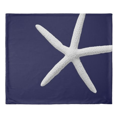 Tropical White Starfish on Navy Blue Beach Duvet Cover