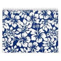 Tropical worn white hibiscus calendar