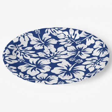 adamfahey Tropical worn white hibiscus paper plate