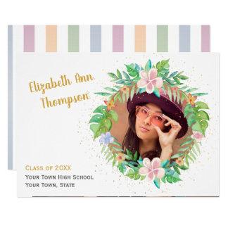 Tropical Wreath Graduation Photo Card