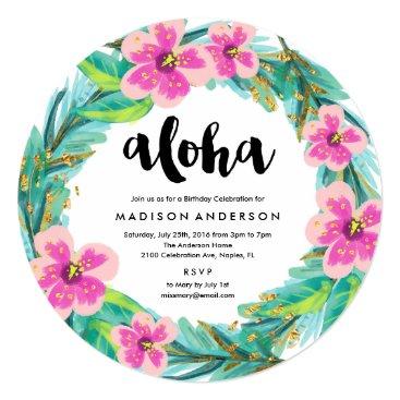 Beach Themed Tropical Wreath Party Invitation