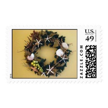 Christmas Themed Tropical wreath postage