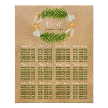 Beach Themed Tropical Wreath Sandy Beach Wedding Seating Chart Poster