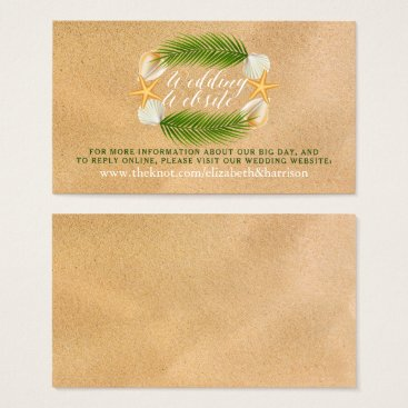 Beach Themed Tropical Wreath Sandy Beach Wedding Website Business Card