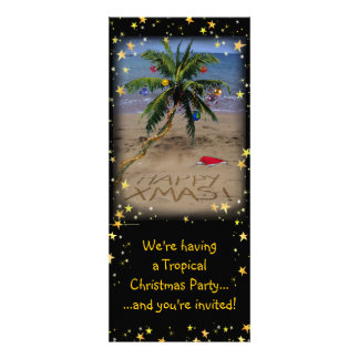Tropical X-mas Party Personalized Announcements