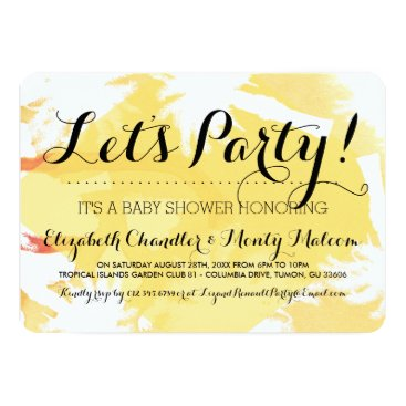 Beach Themed Tropical Yellow Baby Shower Invite