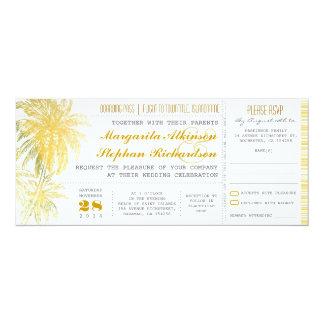 Tropical yellow beach wedding ticket-boarding pass card