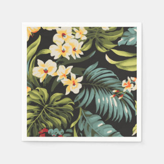 Tropical Yellow Flowers on Green and Black Napkin