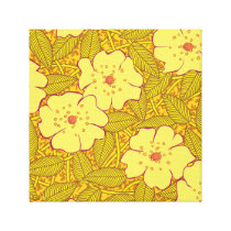 Tropical yellow Flowers Pattern Canvas Print