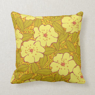 Tropical yellow Flowers Pattern Throw Pillow