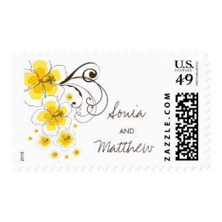 Tropical Yellow Hibiscus Chic Beach Wedding Stamps