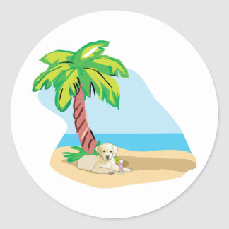 Tropical Yellow Lab Classic Round Sticker