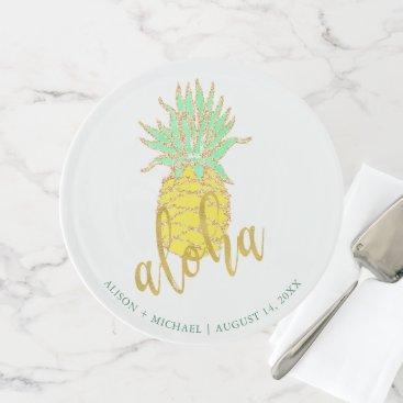 Beach Themed Tropical yellow pineapple aloha hawaiian wedding cake stand