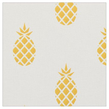 Beach Themed Tropical Yellow Pineapple Fabric