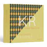 tropical yellow pineapple pattern recipe book chef 3 ring binder
