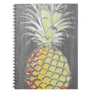 Tropical Yellow Pinneapple on Grey Notebook