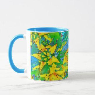 Tropical Yellow Sedum Floral Pattern Mug