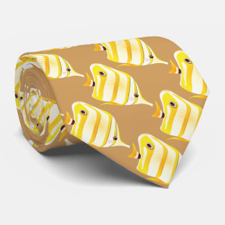 tropical yellow striped fish neck tie