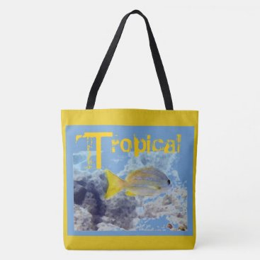 Beach Themed Tropical Yellow Striped Fish Tote Bag
