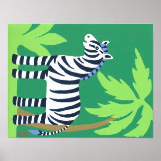 Tropical Zebra Art for Kids, Safari Sky Look Poster